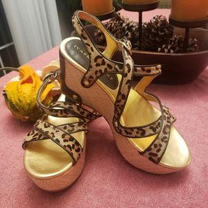 Ivanka Trump Cheetah Wedge Sandals 7M l